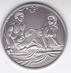 Pure silver medal with erotic image-1994