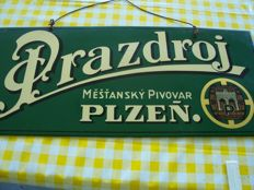 Beer advertising sign Prazdroj Plzen - from Bohemia ca. 1900