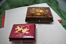 Two wooden inlaid music boxes in mint condition, from Sorrento, Italy, 20th century
