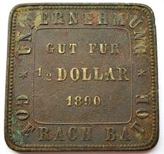 "Sumatra - ½ dollar 1890, Plantation money ""Goerach Batu Cashan""."
