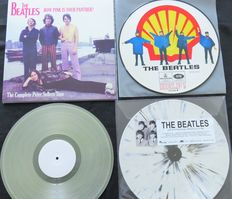 The Beatles - Great lot of 3 LP's: Help! (Shell-logo) Picture Disc / How Pink Is Your Panther? (clear vinyl) / Live In Stockholm 1963 (Very limited Splatter LP)