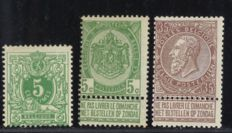 Belgium 1884/1893 – Selection of 3 classic stamps – OPB 45/61