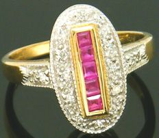 Gold Diamond Art Deco design Ring - with 22 diamond's round cut 0.55 ct & 5 Natural Square Cut Ruby Gemstone's.