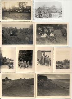 Third Reich; Lot of 20 original photos of German army vehicles, trucks, motorcycles, guns, technology in France, Belgium, Russia WW II