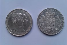 België - 5 frank 1850 (met punt) + 5 frank (module) 1853 'Marriage off the Duke and Duchess of Brabant' - zilver