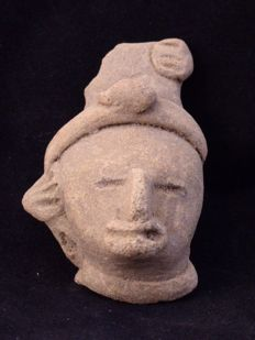 Pre-Columbian ceramic head - 70 mm