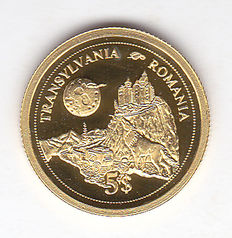 "Fiji Islands – 5 dollars 2006 ""Transylvania – Romania"", gold."