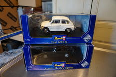 Revell - Scale 1/18 - Lot with Fiat 600 D  white and Austin Healey Sprite British green Frogeye