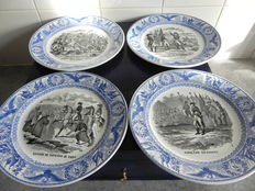 Four earthenware plates with graphics Napoleon -1870-1880