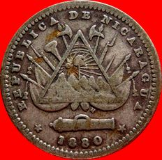Republic of Nicaragua – 10 silver cents, minted in Heaton in 1880