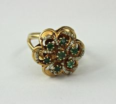 Rose gold ring - Emeralds - Pearls - 1950s