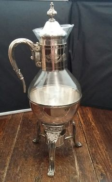 Silver plated & Glass Carafe Coffee/Tea pot unique Claw feet, 19/20th Century, Made in England