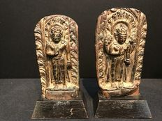 Pair of gilt repoussé copper fragments - Nepal - 17th/18th century