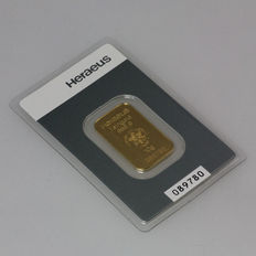 Gold bar, 10 grams Heraeus - 999 fine gold