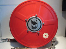 Long Ajax fire hose (25 m) on reel, complete with various fasteners