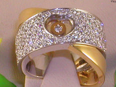 Diamond heart cocktail ring 2.41 ct - Ring size BE 53 / NL 16.75 mm / 18 kt yellow and white gold