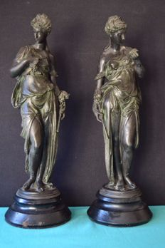 Pair of metal alloy figurines - 1940 - France