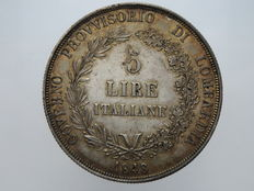 Provisional Government of Lombardy - 5 Lire, 1848 - Silver