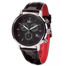 DETOMASO Milano Mens Watch Chronograph Stainless Steel Black Dial Leather Strap New