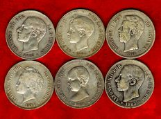 Spain - Set of 6 silver coins of 5 pesetas each - Amadeo I (1871*73); Alfonso XII (1883 and 1885*87) and Alfonso XIII (1888, 1894 and 1896). (6).