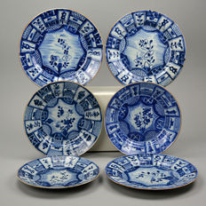 Set of 6 blue-white porcelain plates, China, begin 18th century.