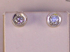 Diamond ear studs, 1.14 ct in total, White gold 18 kt/750, 8 mm NO RESERVE PRICE