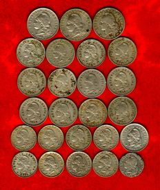 Argentina – Republic of Argentina, collection of 25 coins from the late 19th and early 20th century. Different values: 20, 10, and 5 cents 1896-1942. (25)