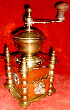 Vintage solid brass coffee grinder, elaborately chased, decorative brass dome with grinder