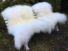 Lot with 2 large fluffy - real - white longhair Iceland sheepskins/lambskins - new!