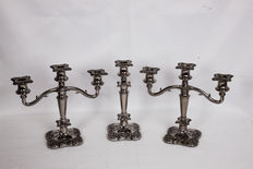 3 candlesticks  in silver plated bronze, made in England.