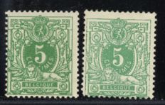 Belgium 1884 – Laying Lion 5 centimes in two colours – OPB 45+45a