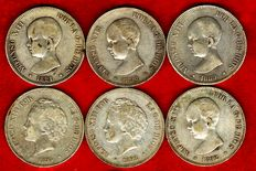 Spain - Set of 6 silver coins of 5 pesetas - Alfonso XII, all different: 1889, 1890, 1891, 1892 (bald type), 1892 (curl type) and 1894. (6)