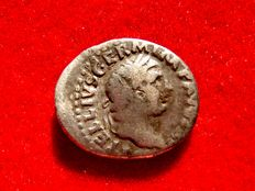 Roman Empire - Vitellius (April - 20 December AD 69.) silver denarius (3,01 g. 19 mm.) from Rome mint, 69 A.D. PONTIF MAXIM, Vesta.
