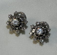 Sparkling 585 white gold with brilliants approx. 1.34ct - stud earring clips