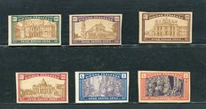 Kingdom of Italy - 1924 - Holy Year - 6 non-perforated stamps, no gum, no watermark - Sassone no. 169/74