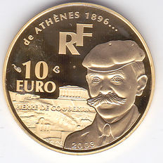 France – 10 Euro 2003 'Pierre de Coubertin' – ¼ oz gold