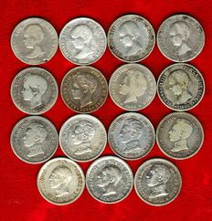 Spain – 15 silver coins, 50 centimos of Alfonso XIII. Years: 1889 (2), 1892 (3) y 1894, 1896, 1900, 1904 (3 SM-V y 1 PC-V), 1910 and 1926 (2). (15).