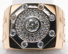 Gold men's ring of 18 kt with 1.70 ct diamonds – ring size adjustable for free up to size 80