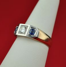 Diamond 0.35ct & Sapphire 1 Bi-Color 18K/750 Gold Ring