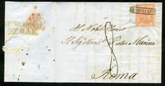 Kingdom of Naples - 1858 - Letter to Rome with 5 Grana deep carmine, 2nd table - Sassone no. 9a