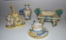 Lampasona Caltagirone - lot of 4 ceramic artifacts, various objects