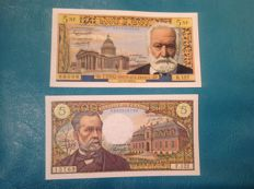 France - 5 NFrs Type Victor Hugo 1959 and 5 Frs type 1966 Pasteur