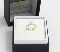 Solitair ring made from 18 kt gold, hand-finished, diamond 0.50 ct