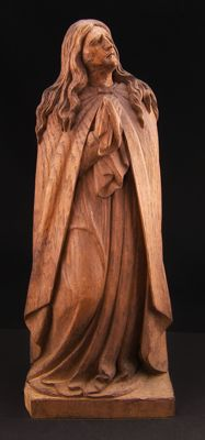 Ancient monochrome wooden sculpture depicting Saint Mary Magdalene - French school, 19th century