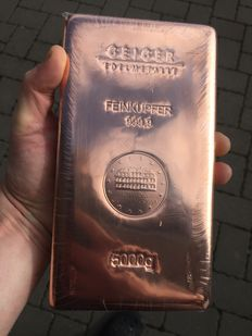 Geiger copper bars 5 kg - 5,000 grams 999 copper - cast - Güldengossa Castle Edition