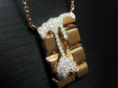 Melting Heart, 18K rose gold diamond chocolate bar necklace