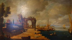 Francesco Guardi (after) - (probably 18th century) - an oriental harbour scene -