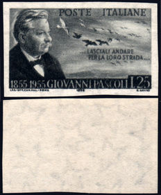 Italian Republic, 1955 – Giovanni Pascoli – Not perforated – With certificate.