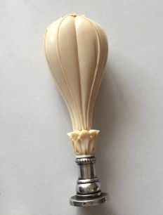 Rare heart of Ivory and Silver  Seal in the Shape of a Tethered Balloon.
