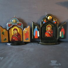2 religious triptych icons - lacquered box.